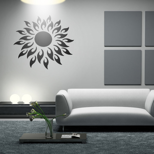 Sunshine Fire Round Flower Diy Wall Stickersd Silver Mirror Wall Stickers Home  Decor Art With Aliexpress Home Decor.