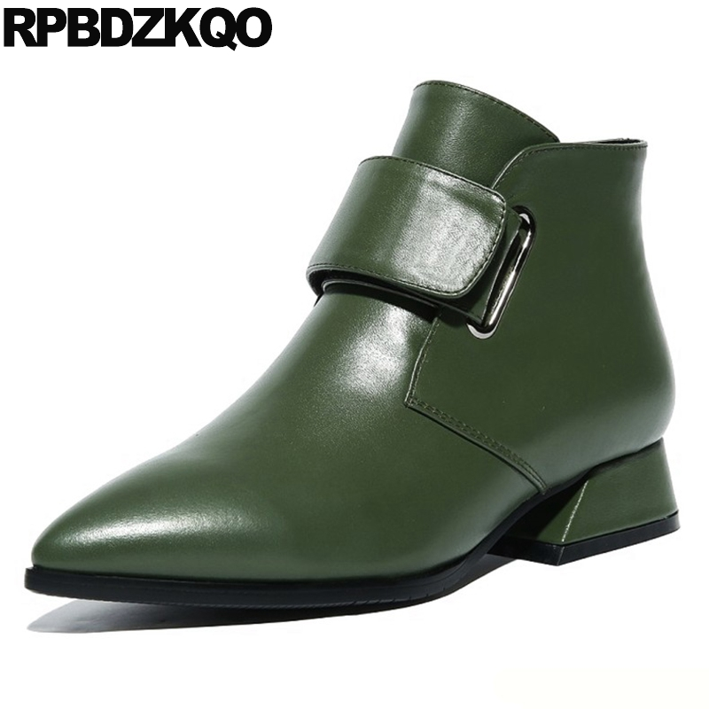 Pointed Toe Ladies Waterproof Winter Boots Women Trend Low Heel Fur Belts Genuine Leather Shoes Chunky Green Short Ankle Booties women s low heel pointed toe ankle boots brand designer sweet bowtie patchwork short booties genuine leather shoes for women hot