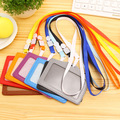 Name Credit Card Holders Women Men PU Bank Card Neck Strap Card Bus ID holders candy colors Identity badge with lanyard PY014