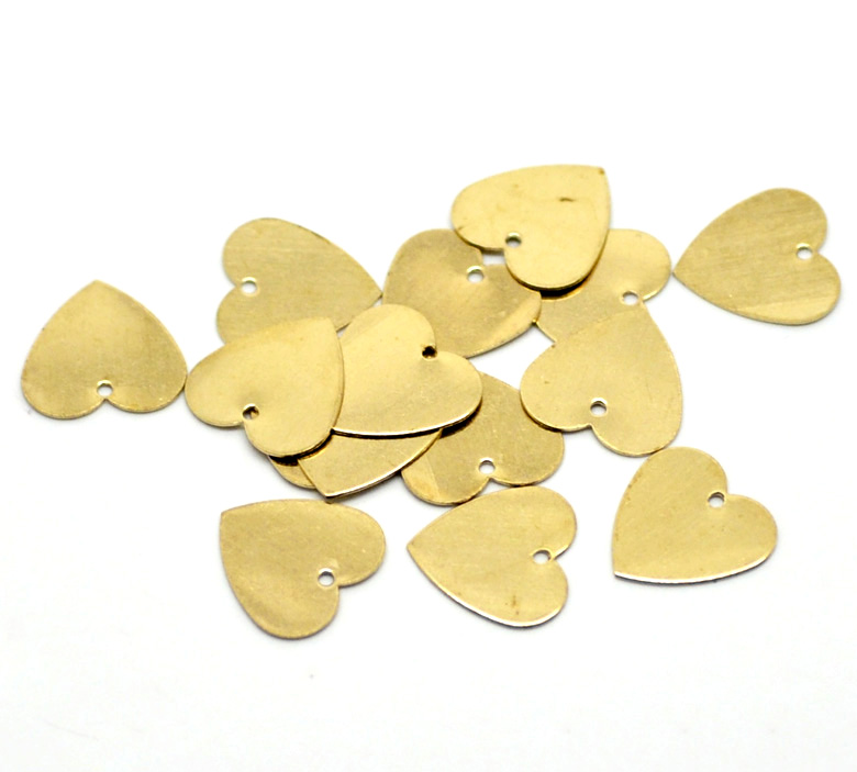 Doreen Box Lovely 100PCs Brass Blank Stamping Tags Pendants Love Heart for Necklaces,Earrings,Bracelets etc (B18581) love etc