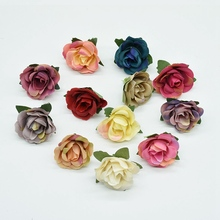 20pcs MINI Multicolor needlework silk roses flower wall artificial plants christmas decorations for home diy a cap fake flowers