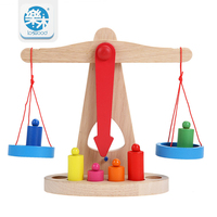 2017 New Montessori Educational Toy Small Wooden New Balance Scale Toy With 6 Weights For Kids baby gifts