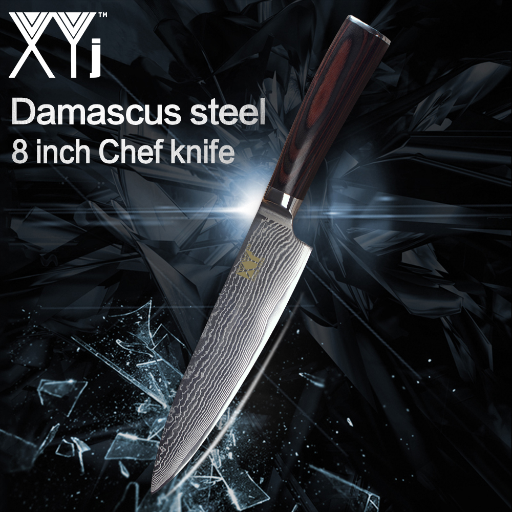 XYj Kitchen Cooking Knives New Arrival 2018 Damascus Steel Chef Knife Lightweight Effort Color Wood Handle