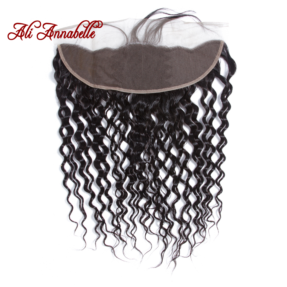 """Water Wave Ear to Ear Lace Frontal Closure 13*4 Free/Middle Part With Baby Hair 10 20"""" Brazilian Water Wave Human Remy Hair-in Closures from Hair Extensions & Wigs    3"""