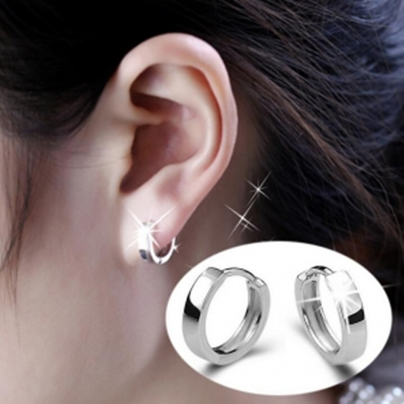 Tide Korean Fashion Glossy Lovers Circle Ear Ring Earrings Punk Male and Female Anti-allergic Buckle Jewelry Earring Wholesale