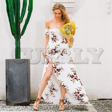 CUERLY Boho style long dress women Off shoulder beach summer new year Vintage chiffon white maxi vestidos de festa