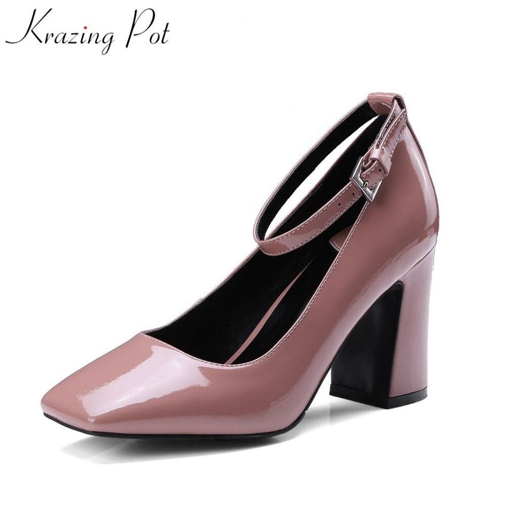 Krazing Pot 2018 design fashion brand luxury super high heel buckle strap square toe solid pumps wedding woman shoes pumps L94 цена 2017