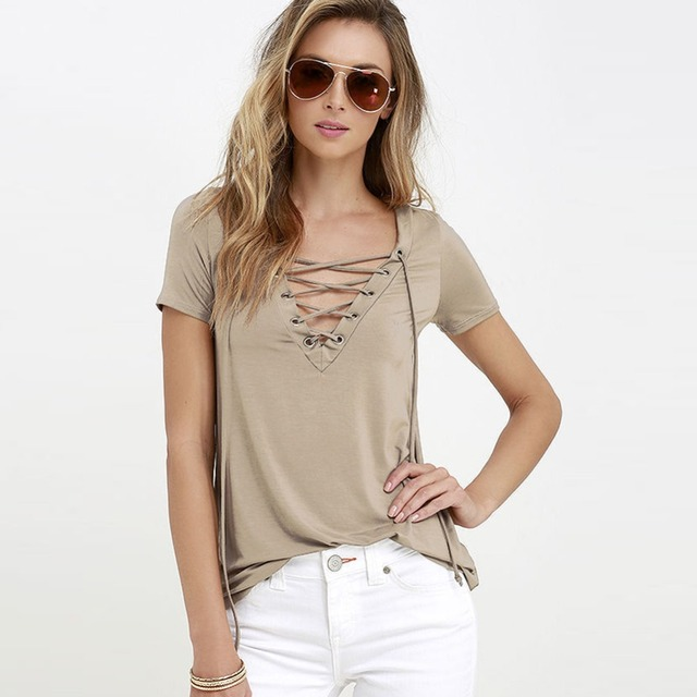 Women T-shirt 2017 Summer fashion ops Tees T Shirt Short Sleeve Sexy Deep V Neck Solid color Bandage Lace Up TShirts Women S-5XL