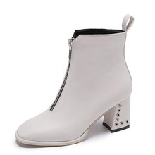 High-heeled shoes womens winter thick with boots white short autumn and new England front zipper