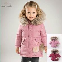 DB6098 dave bella bebê meninas para baixo crianças jaqueta de inverno 90% de pato branco para baixo acolchoado casaco crianças casacos com capuz