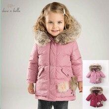 DB6098 dave bella del bambino di inverno delle ragazze giù giacca bambini 90% piume danatra bianca giù capretti del cappotto imbottito con cappuccio della tuta sportiva