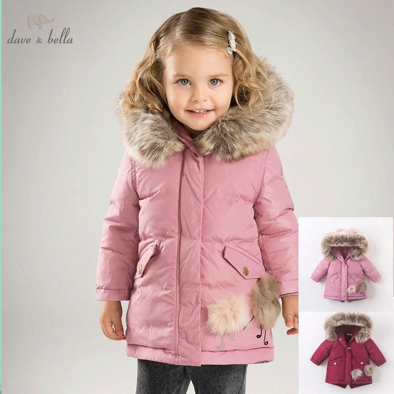 DB6098 dave bella winter baby girls down jacket children 90% white duck down padded coat kids hooded outerwear цена 2017