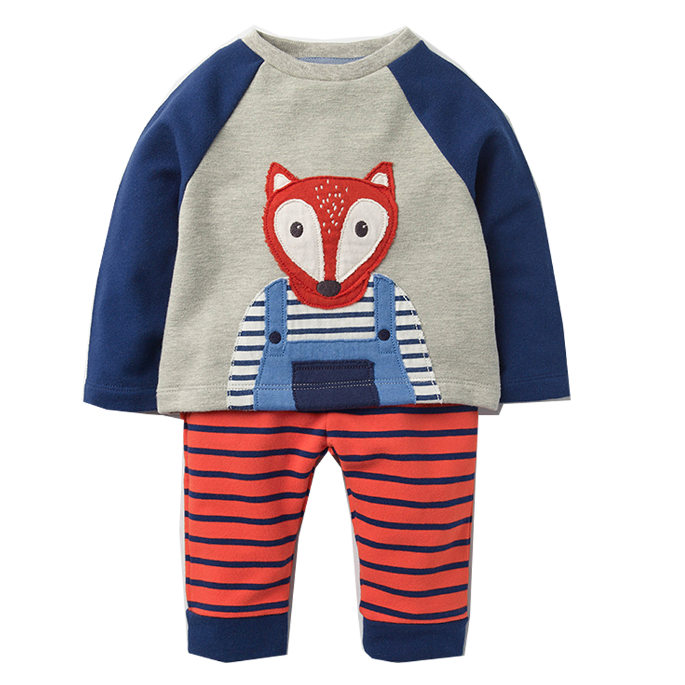 Boys Set with Animal Applique Sweatshirt+Pants Autumn Winter Children Clothing Sets Kids Back to School Outfit Baby Boys Clothes 2018 sweatshirt kids clothing sets toddler baby boys clothes set winter warm children clothing set for boys cotton kids 2 piece