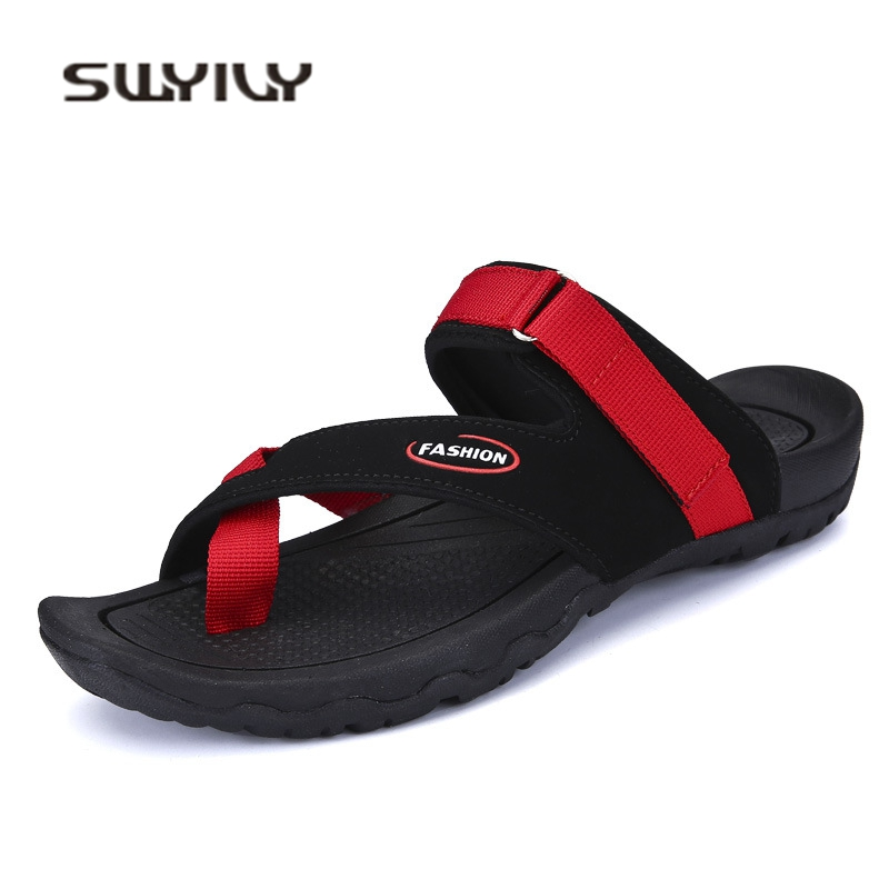 SWYIVY Mens Sandals Vietname Shoes Flip Flops 2018 Male Sandals Casual Shoes Comfortable Flat Rome Beach Shoes 38 44 Black Red