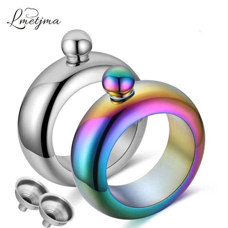 LMETJMA 3.5 oz Arc-En-Bracelet Bracelet Ballon de La Hanche Portable En Acier Inoxydable Flacon de Hanche Avec Entonnoir Whiskey Flacon Verres KC0056
