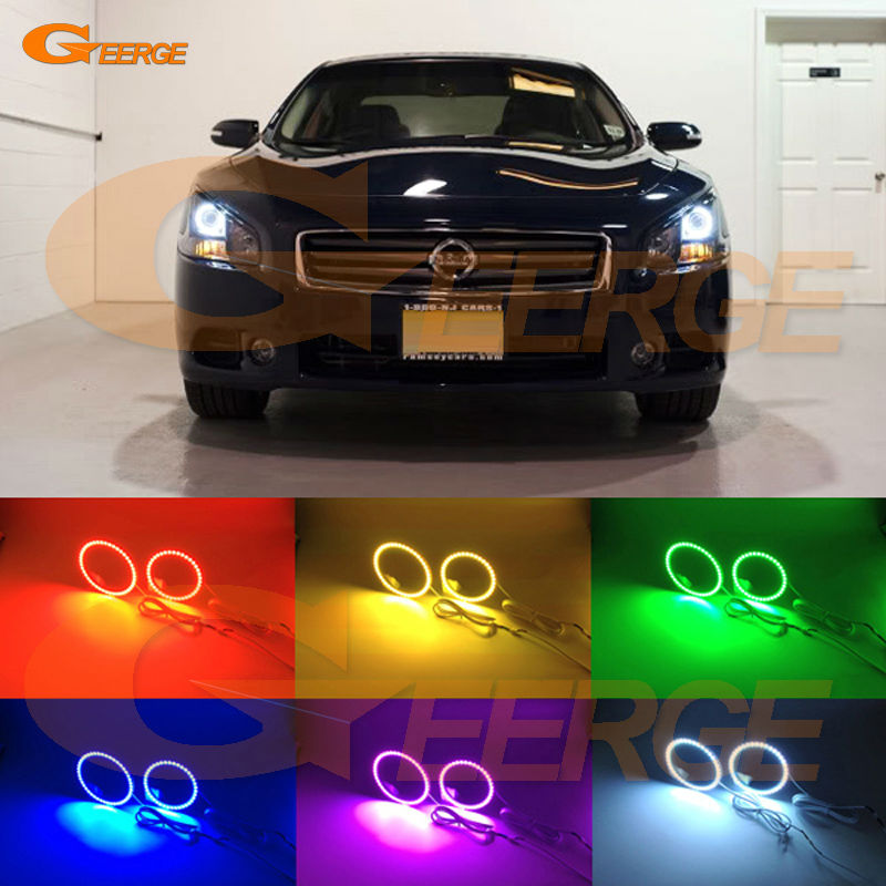 For Nissan Maxima 2009 2010 2011 2012 2013 2014 Excellent Angel Eyes Multi-Color Ultra bright  RGB LED Angel Eyes Halo Ring kit car rear trunk security shield shade cargo cover for nissan qashqai 2008 2009 2010 2011 2012 2013 black beige