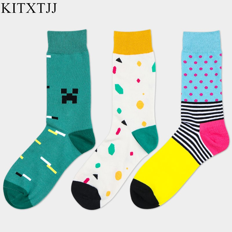 New Men Male Socks Business Brand Crew Sock Polka Dot Tube Print Skate Happy Dress Harajuku Design Meias Calcetines Winter Sox