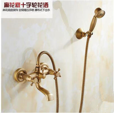Shower set full copper shower set faucet bathroom antique shower shower hot and cold water faucet bathroom shower plumbing hardware kit copper three speed faucet hot and cold shower set bathroom faucet