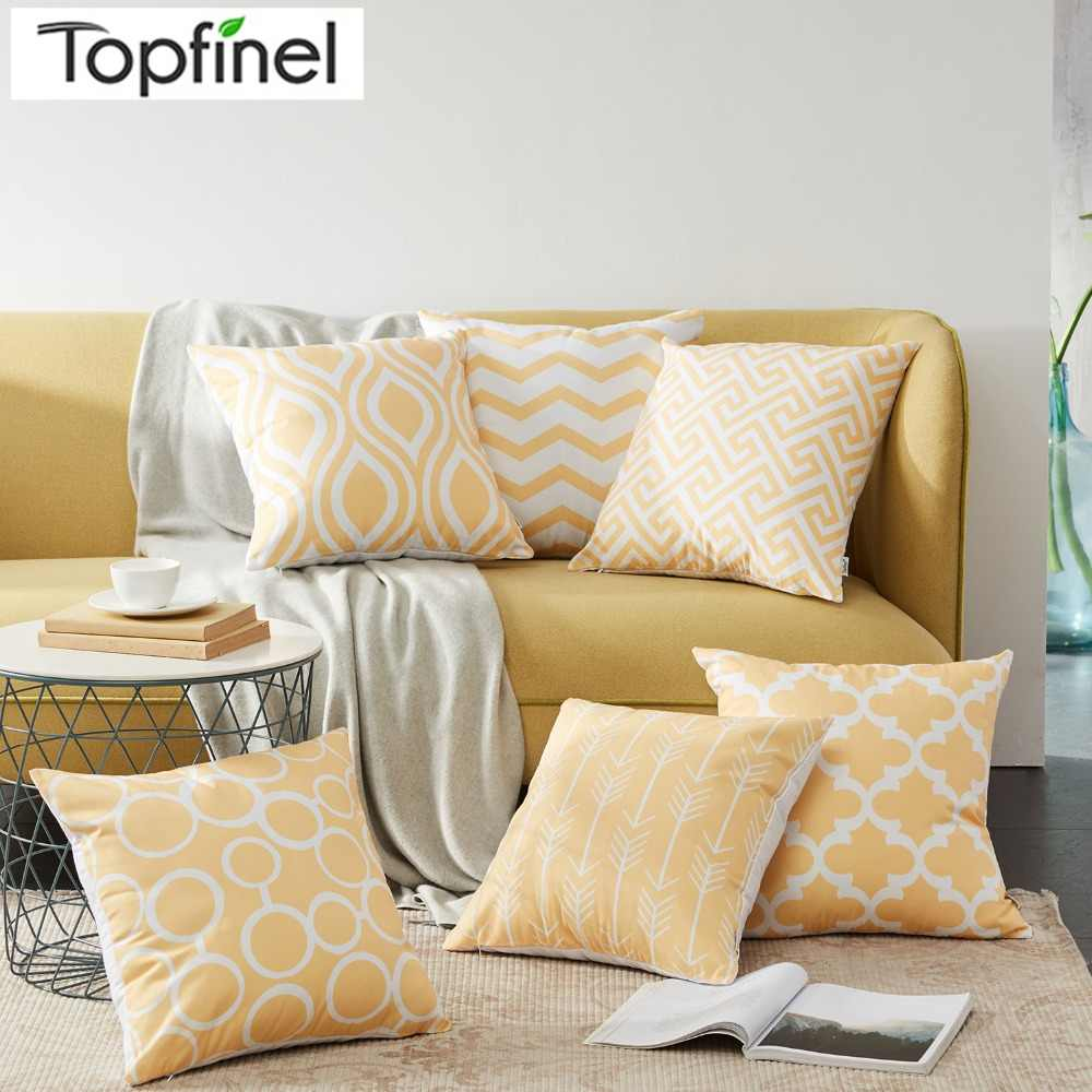 Amazing Topfinel Canvas Decorative Throws Pillows Cushions Covers Creative Geometric Yellow Pillowcase For Sofa Couch Chair Seat Bedroom Squirreltailoven Fun Painted Chair Ideas Images Squirreltailovenorg