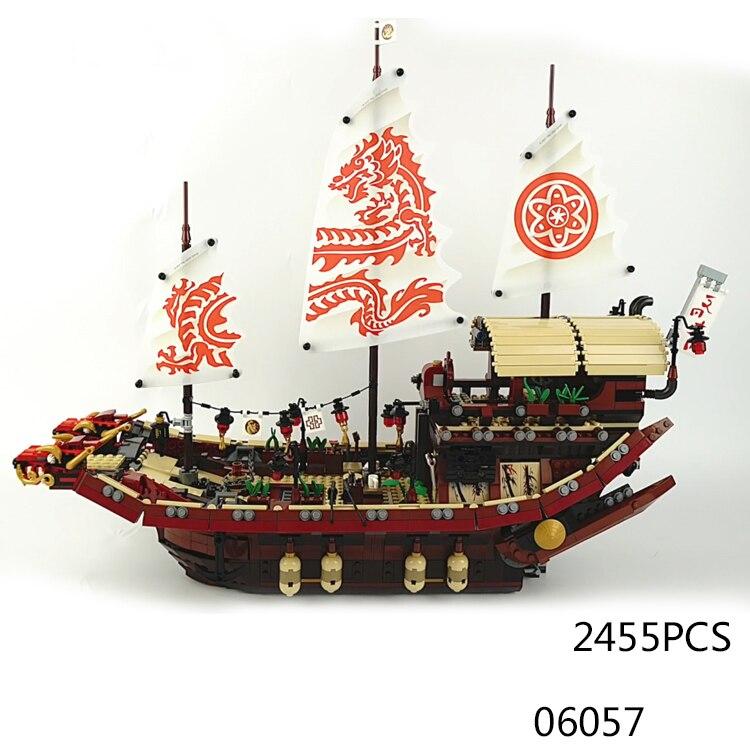 HJot ninja movie destiny Bounty ship go building block model Kai Zane Jay Cole Lloyd Skylor Wu master figures bricks 70618 toys