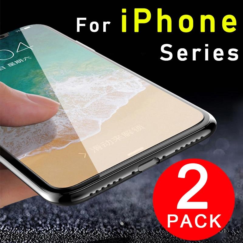 2PCS protective glass on the for apple iphone 6 7 7plus 8 8plus x Plus glas Temp