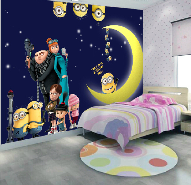 Despicable Me Minions Wallpaper Home Decor Fiber Anime Background 3D Wall Stick For Children Room Removable In Stickers From Garden On
