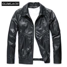 Мужская мотоциклетная куртка из натуральной овечьей кожи, черная приталенная куртка из овечьей кожи