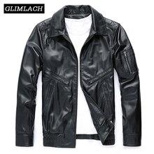 Itália homens de luxo couro genuíno motocicleta motociclista jaqueta marca alta qualidade pele carneiro real jaqueta vôo preto casaco fino