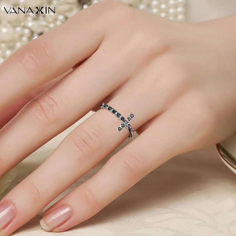 VANAXIN 925 Silver Faith Cross Rings 925 Sterling Silver Jewelry Gift Engagement Clear Black CZ Stone Finger Rings for Women Box