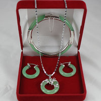 noble light green Natural jade bracelet7.5, round earings, and dragon pendant for Christmas and valentine's day gift