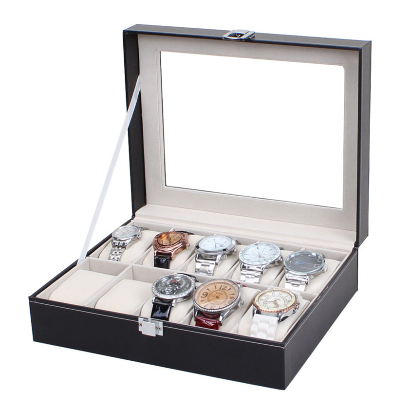 2017 hot sale Leather 10 Slots Wrist Watch Cisplay Box Storage Hol Cer Organizer Case #0 ...