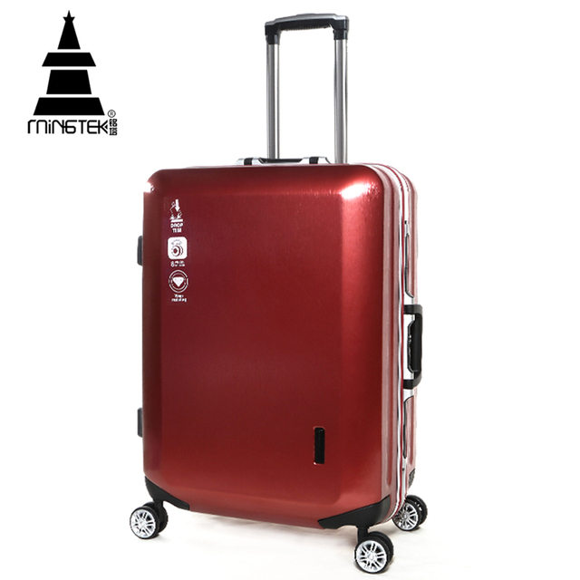 MINGTEK Brand Trolley Travel Bag Hand Luggage 2017 New Fashion Business Travel Suitcase Big Space Suitcases With Wheels Road