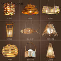 Japanese bamboo chandelier cafe bar retro bedroom Chinese wind creative chandelier