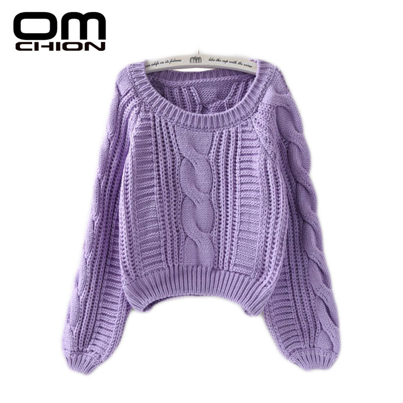 OMCHION New 2018 Autumn Winter Twist Soft Casual Women Sweaters And Pullovers Lantern Sleeve Short Sweater Loose Pull Femme SW96