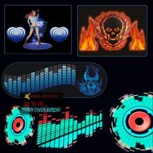 Auto styling 90*25 40*30 50*30 Automobil LED EL Blatt Auto Musik Aufkleber Equalizer Glow flash Panel Licht Blinkt