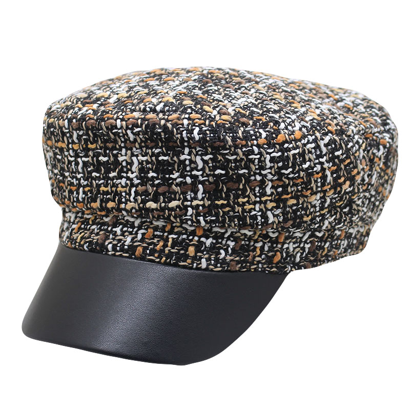 2019 New Winter Hat Women Fashion Vintage Tweed Military Hats Gold Thread Snapback Female Visor Octagonal Caps Baker Boy Hat in Men 39 s Berets from Apparel Accessories