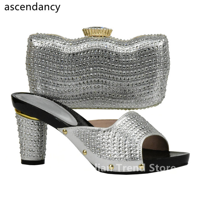New Arrival Rhinestone Silver Shoe And Bag Set Good Quality Party Shoes Sets