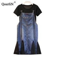 QoerliN Big Size 4xl Two Piece Jeans Dress Suits 2019 Korean Style Summer New Short Sleeved T-shirt Mesh Denim Street Wear