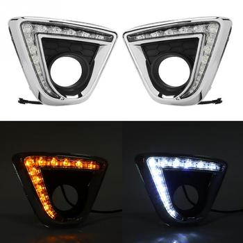1 Pair Car LED Daytime Running Light Turn Signal DRL Lights Fog Lamp Cover for Mazda CX-5 2012-2015