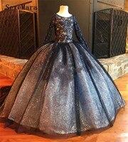 Черный одежда с длинным рукавом для девочек Нарядные платья бусинки Блестки бальное платье с цветочным узором для девочек детское празднич