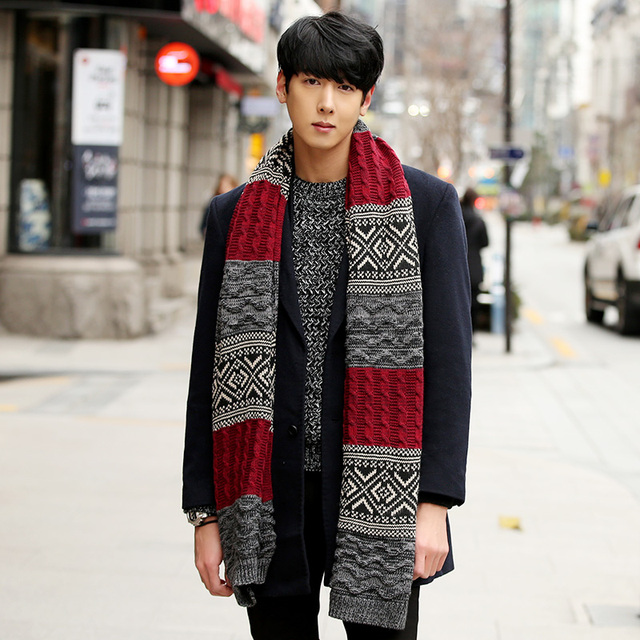 c0825625189fb Korean men 's long scarf autumn and winter thick wool scarves young  students couple knit Scarves & Wraps