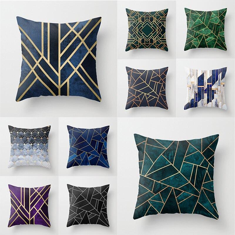 Couleur profonde géométrique housse de coussin bleu et noir imprimé oreiller couvre taies d'oreiller décoratives coussins décoration de la Maison