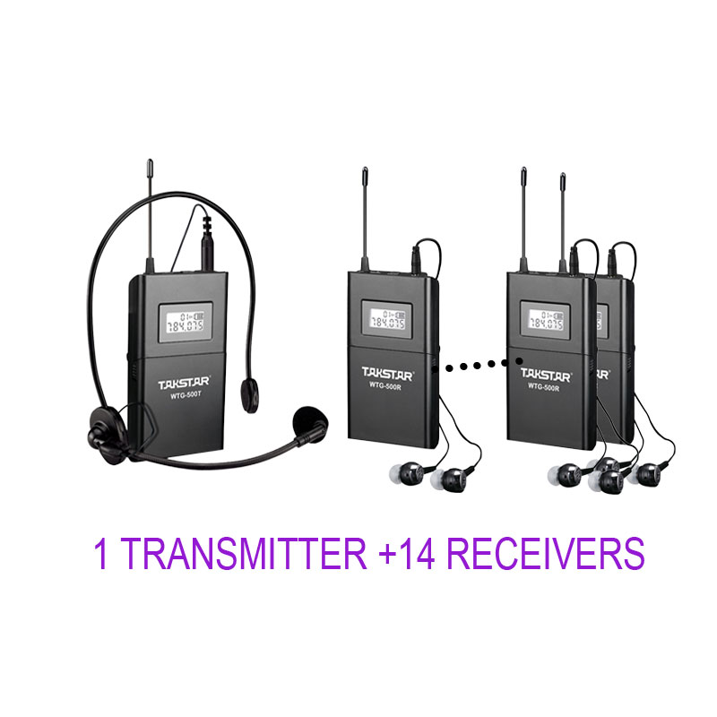 Takstar WTG-500/WTG 500 UHF Wireless Tour Guide System 1 Transmitter+14 Receivers for Tourist guide/Simultaneous interpretation 2 receivers 60 buzzers wireless restaurant buzzer caller table call calling button waiter pager system