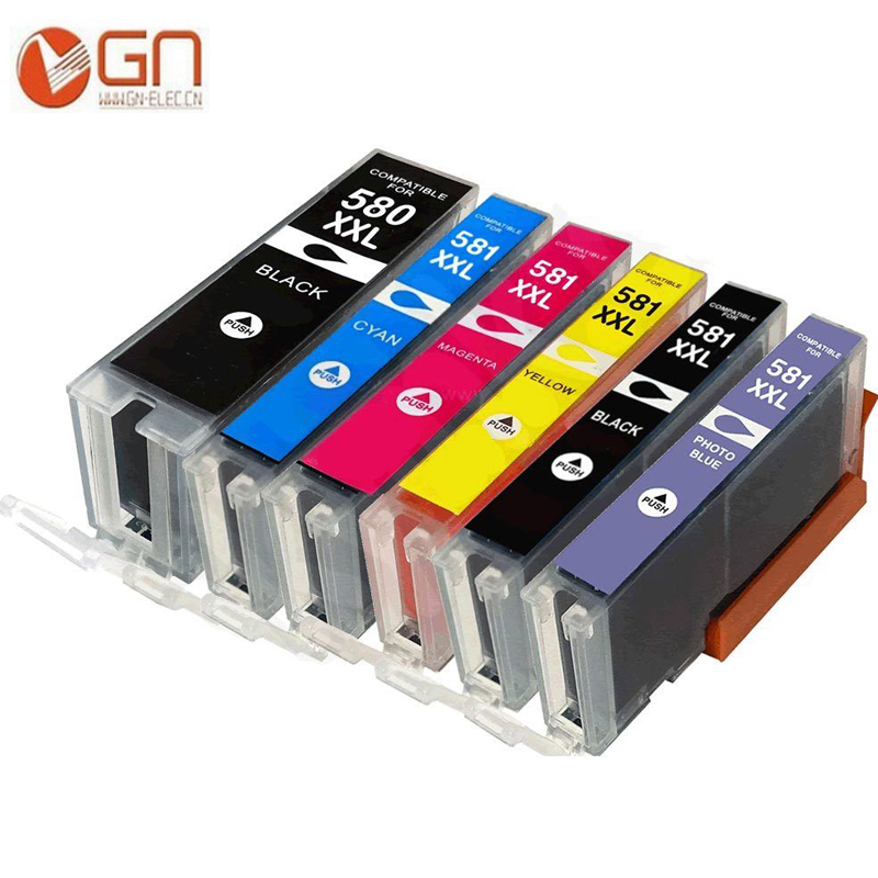 GN 6pk Compatible PGI <font><b>580</b></font> CLI 581 XXL ink cartridge for <font><b>CANON</b></font> Pixma TR7550 TR8550 TS6150 TS6151 TS8150 TS8151 TS8152 image