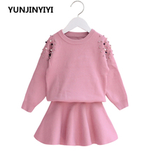 2018  children clothes set suits girls tracksuits Spring kids clothing sets girl 2 Pcs sets sweater tops+skirt suits 2pcs lot spring autumn baby little girls knitted ruffle skirt suits children kids girl jersey skirt sweater bow tie frillies
