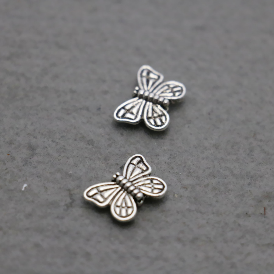 10PCS Boutique Butterfly Hardware Metal parts Fittings for DIY 10x14mm Jewelry Design Making components Findings Silver-plate