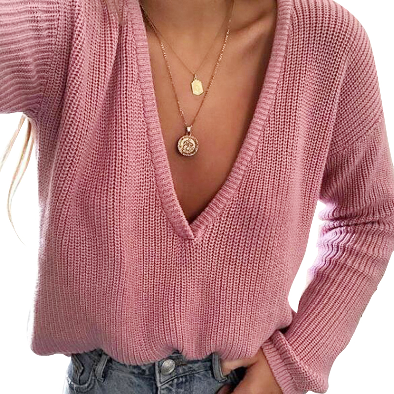Deep V Neck Sweater Women Long Sleeve Loose Sweaters And Pullovers Winter Autumn 2018 Ladies Sweater Jumper Sexy Warm Sweater
