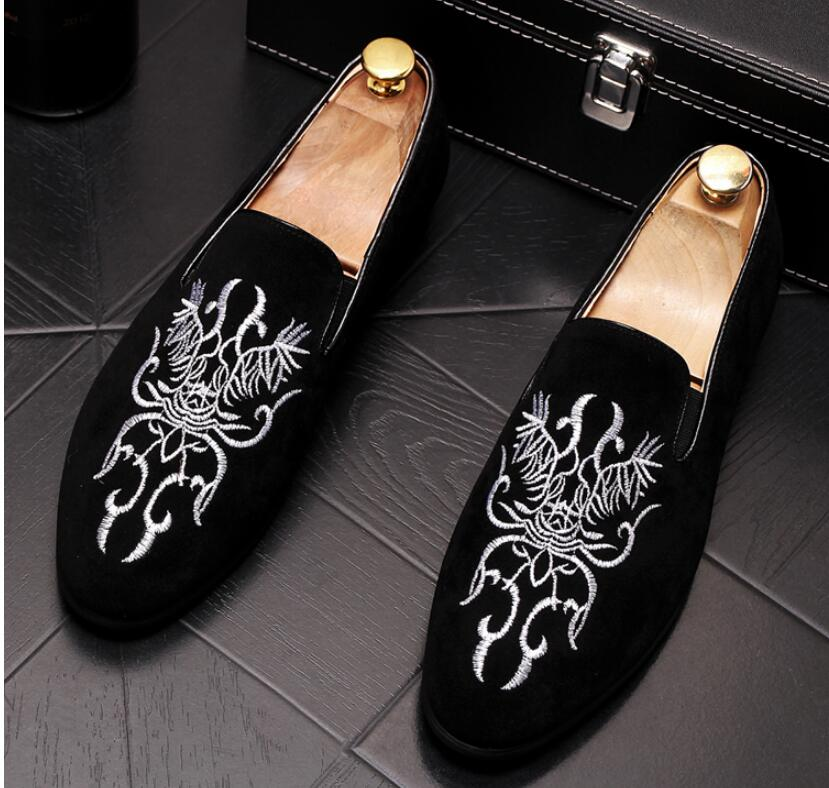 New Preto Para Mocassins Vermelho Mens E Sapatos Requintado Suede Festa vermelho Preto Casamento Baixos Homens Bordado Black Vestido Rgw6Rar