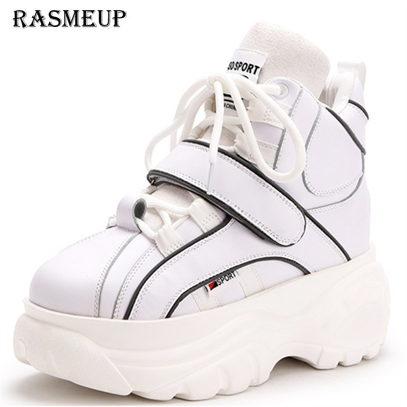 RASMEUP damskie platformy trampki kobiety tata buty 2019 marka moda srebrny biały różowy wzrost buty na co dzień kobieta obuwie w Damskie buty typu flats od Buty na  Grupa 1