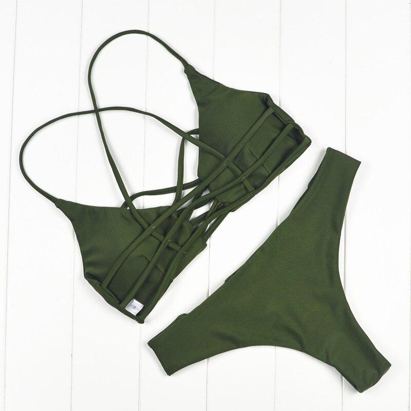 2019 Women Bandage Thong Бразилиялық Bikinis Swimwear - Спорттық киім мен керек-жарақтар - фото 2
